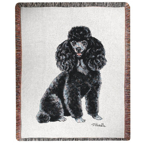 Black Poodle Throw Blanket