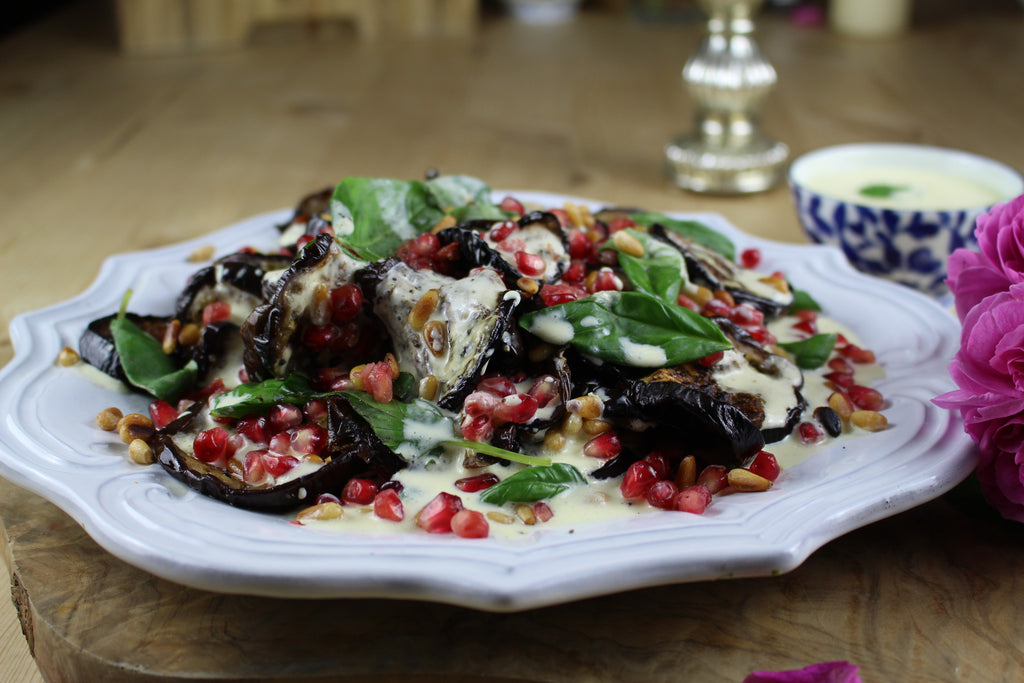 Roasted Aubergine and pomegranate salad with a vibrant yoghurt dressing