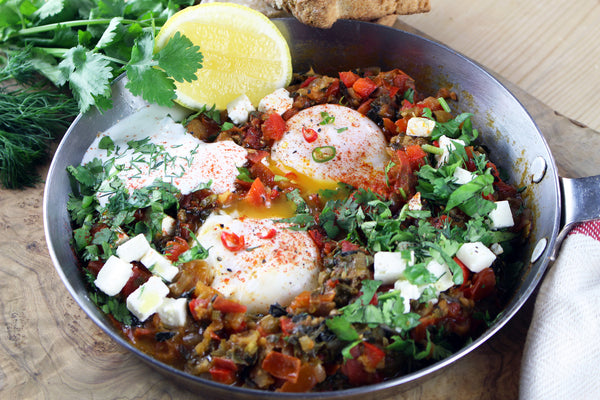 Aprés Eggs with Slow Cooked Tomatoes