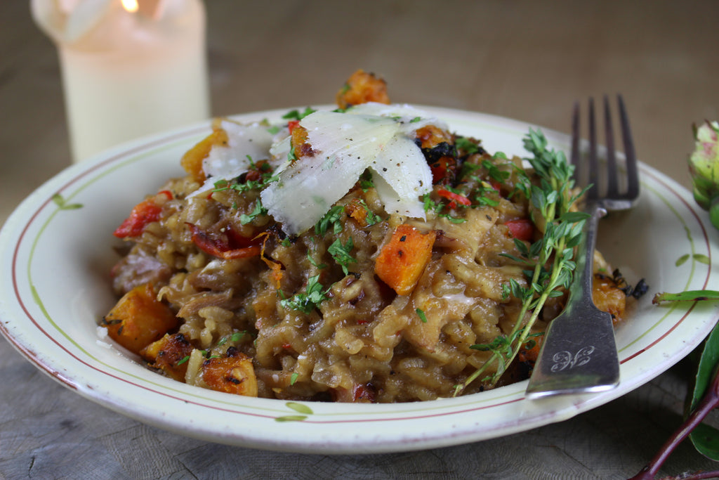 Ripped roast chicken and buttery butternut squash risotto