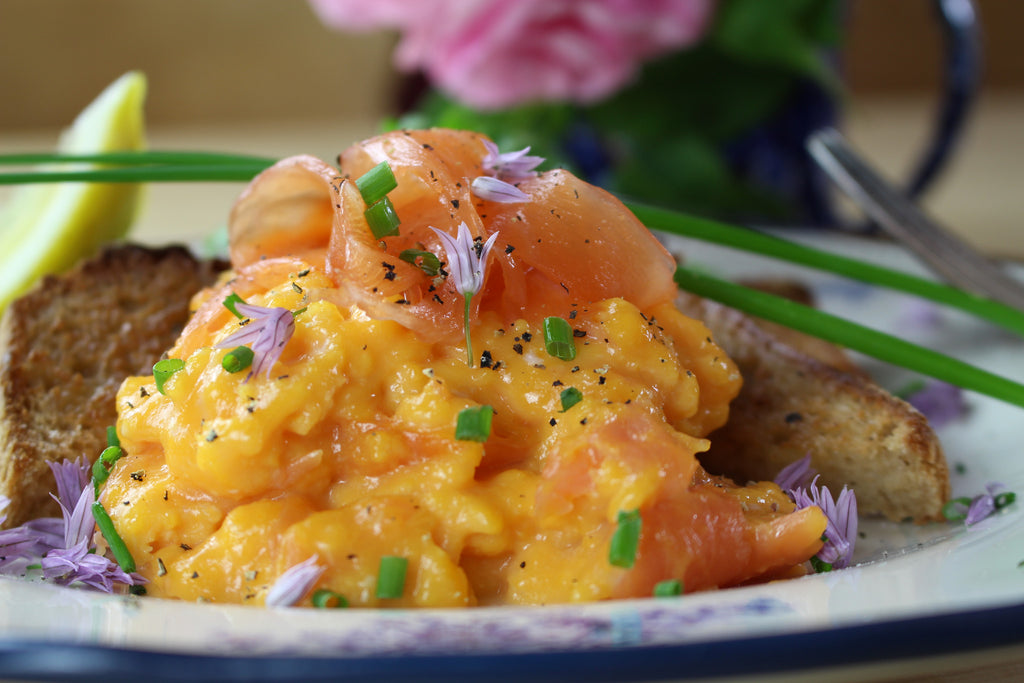 Creamy Scrambled Eggs with Smoked Salmon