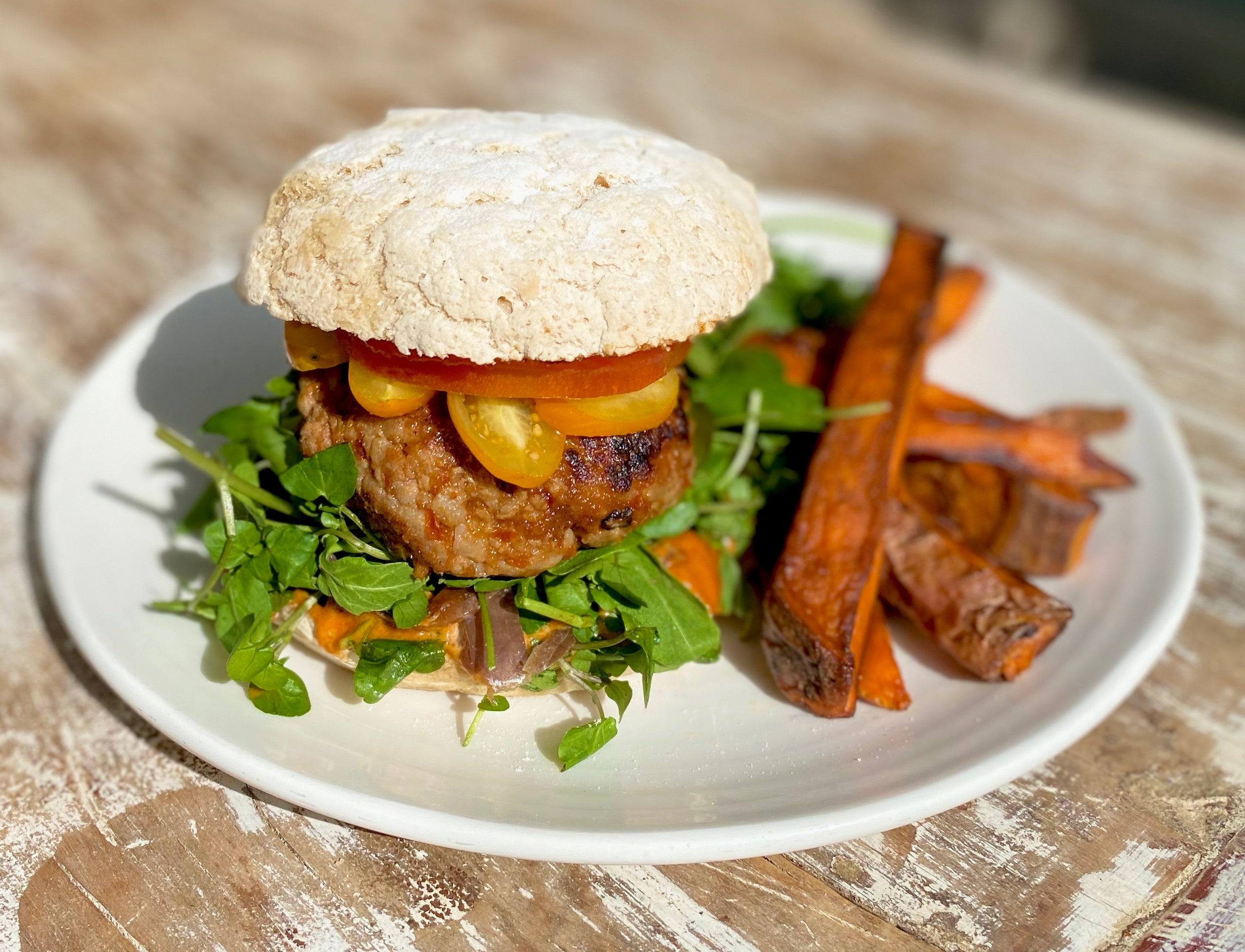 Free range pork, beef caramelised onion & apple burger