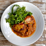 Load image into Gallery viewer, Norfolk white free range chicken leg with Toulouse sausage, tomato & butterbean sauce