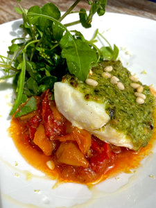 Fillet of cod with homemade pesto & slow cooked Venetian peppers