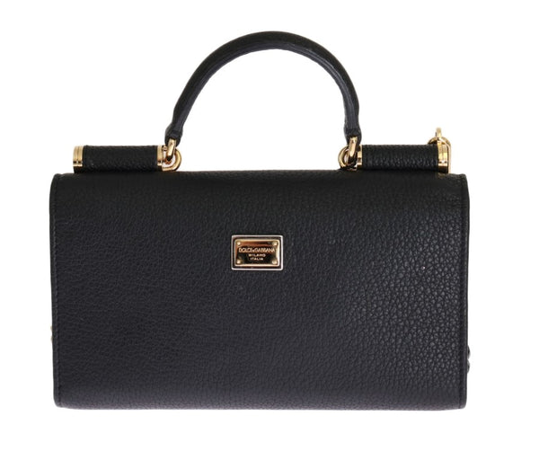 DOLCE & GABBANA BLACK LEATHER CRYSTAL CARRETTO VON BAG