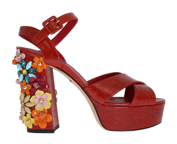 DOLCE & GABBANA RED LEATHER CRYSTAL STRAP SANDALS
