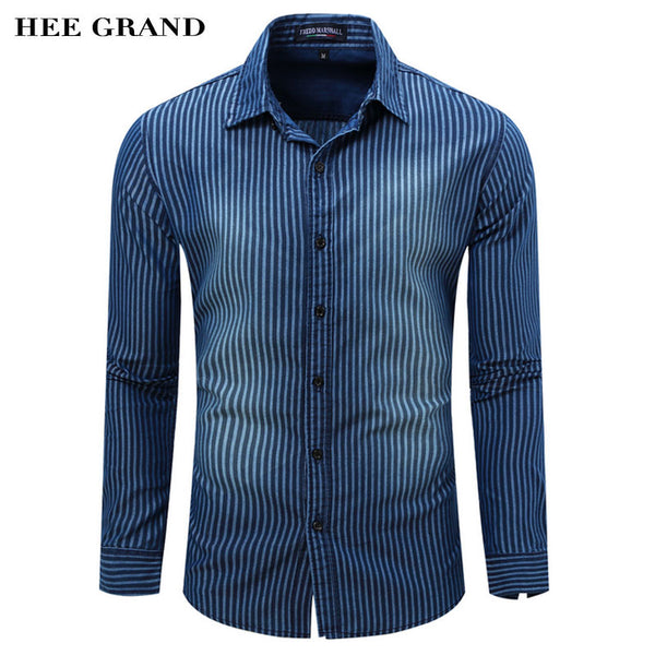 Men's Shirt Casual Style Full Sleeve Striped Shirt Washed Denim Shirt