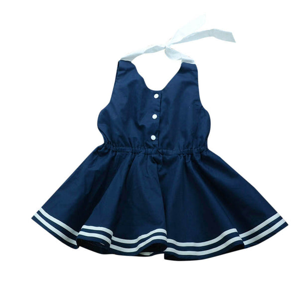 Toddler Girls Princess Dress Sleeveless Belt Button Preppy Chic Splice Sundresses Clothes Kids Party Dress Vestido