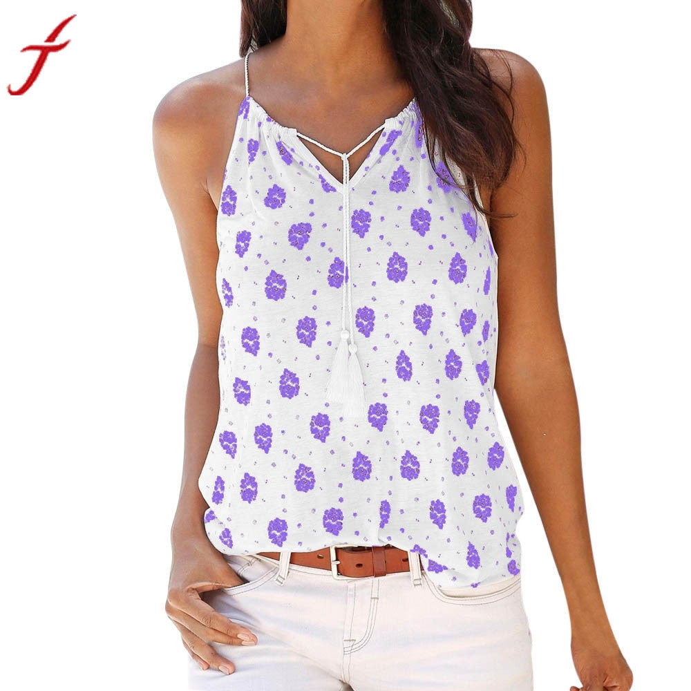 2017 Women Summer Fashion Crop Top Print Sleeveless V-Neck Vest Shirt Tank Tops Female Sexy Vest White T Shirt