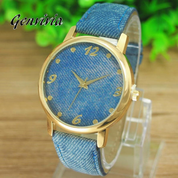 2017 New Promotion Relojes 1pcs/lot Casual Ladies Denim Cloth Alloy Dress Watches Woman Wrist Watch For Women