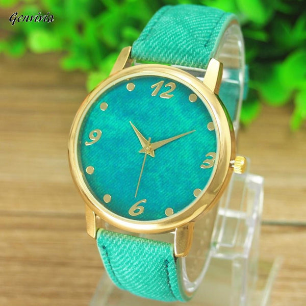 GENVIVIA 2017 New Promotion Relojes 1pcs/lot Casual Ladies Denim Cloth Alloy Dress Watches Woman Wrist Watch For Women