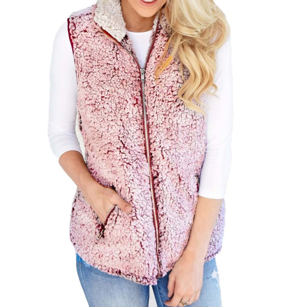 Womens Vest Winter Warm Outwear Casual Faux Fur Zip Up Sherpa Jacket