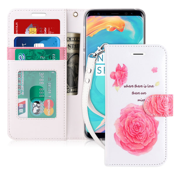 Samsung Galaxy S9+ Plus Case, FYY[Prevent Card Information Leaking Technique]Premium PU Leather Wallet Case with [Kickstand Feature][Wrist Strap][Shockproof Rubber Cover] for Galaxy S9 Plus