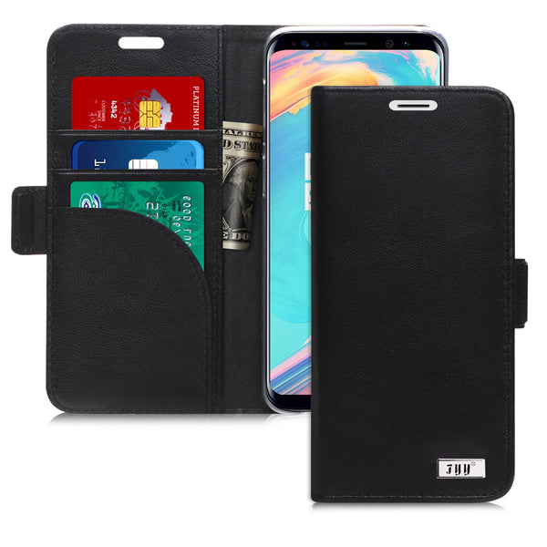 Samsung Galaxy S9 Case, FYY [Genuine Leather] 100% Handmade Wallet Case with [Prevent Card Information Leaking Technique] and [Kickstand Feature] for Samsung Galaxy S9