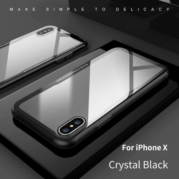 Transparent Tempered Glass for IPhone X Cellphone Case Perfect Touch TPU Para Bumper Soft Back Cover