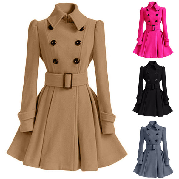 Winter Warm Women Woolen Coat Trench Parka Jacket Belt Overcoat Outwear