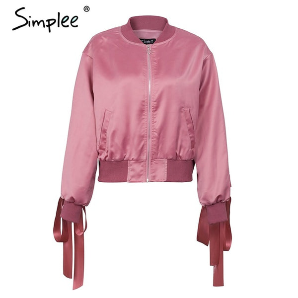 Simplee Basic army green bomber jacket coat women Satin lace up pocket biker jacket outerwear Autumn winter casual streetwear