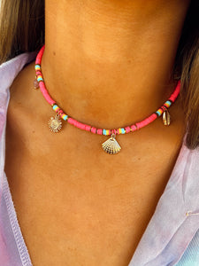Collier Pablo rose fluo