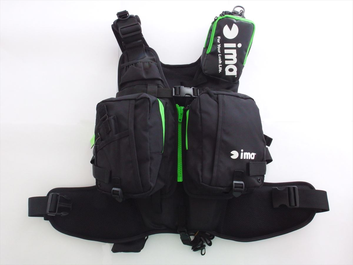 ima - ORIGINAL FROATING VEST X-O BLACK / GREEN