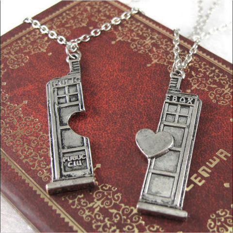 """Doctor Who"" Tardis Police Box Heart Pendant/Necklace"