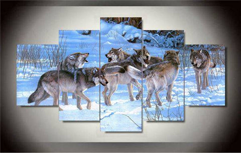 Wolf Pack 5 Piece Limited Edition Canvas