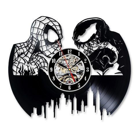 Spiderman Vs Venom Vinyl Record Wall Clock