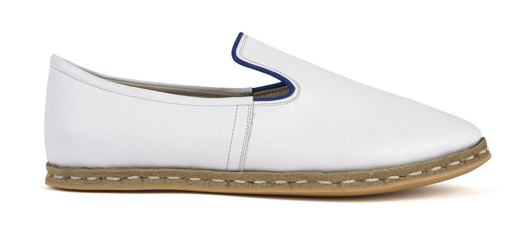 Flat Fours White Leather Shoe