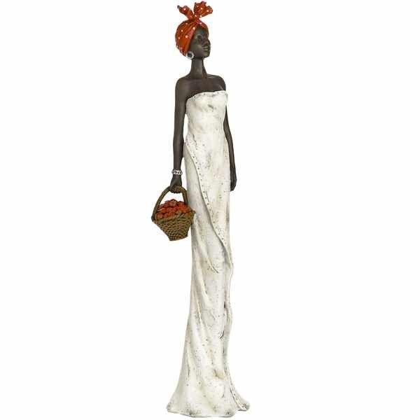 African Lady With Basket Figurine