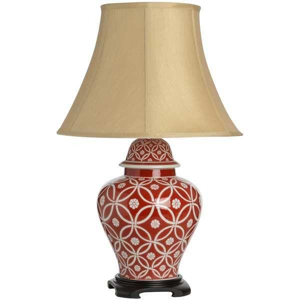 Athos Cream On Red Patterned Ceramic Table Lamp