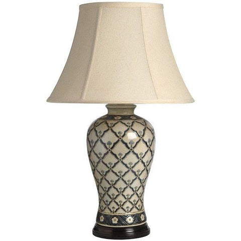 Beige Patterned Ceramic Table Lamp