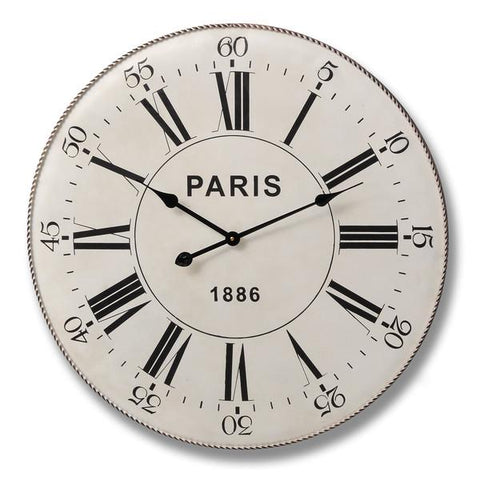 Black on Cream Metal Paris Clock