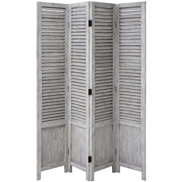 Grey Washed Wooden Louvred Room Divider