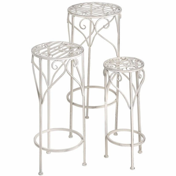 Set of Three Antique White Metal Plant Stands