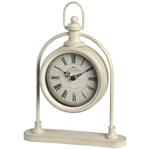 Cream Round Pocket Watch Mantel Clock on Stand