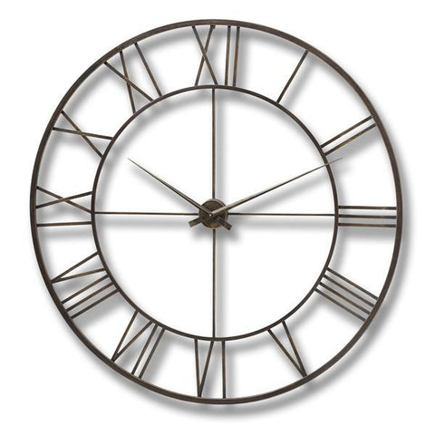 Antique Brown Metal Framed Wall Clock