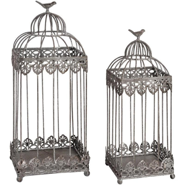 Antique Grey Set Of Two Bird Cages