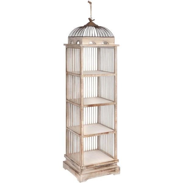 Antique White Large Birdcage Shelving Unit