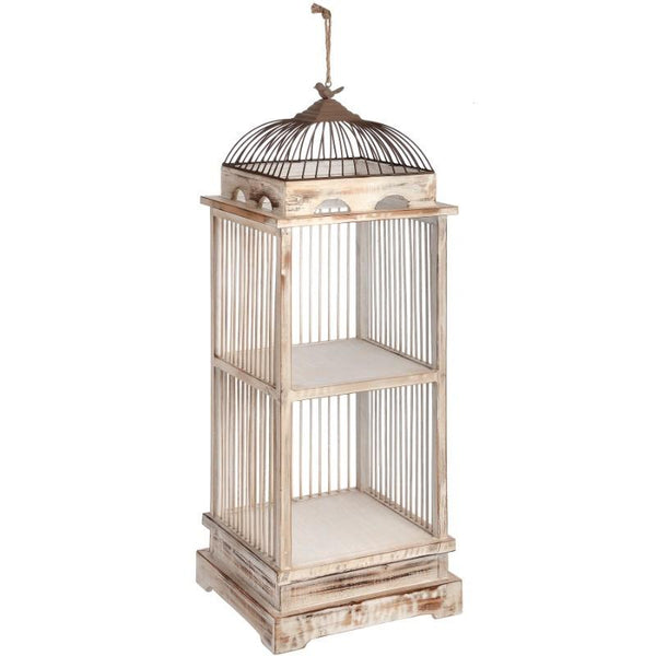 Antique White Bird Cage Shelving Unit