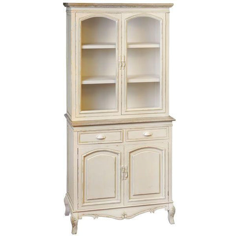 Country Display Cupboard With 2 Cupboards & Drawers