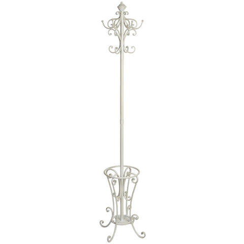 Iron Hat Coat & Umbrella Stand in Antiqued White Finish
