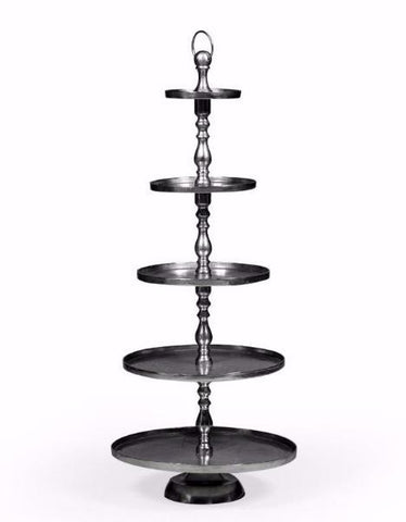Antiqued Aluminium 5 Tier XL Cake Stand