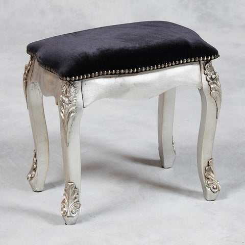 French Style Antique Silver Dressing Table Stool