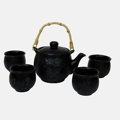 Etched Plum Tea Set