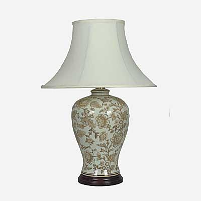 Pair of Jar Lamps In Cream With Brown Peony Designs