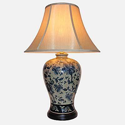 Pair of Cream Lamps With Dark Floral Design