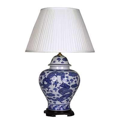 Pair of Large Jar Lamp In Blue and White Dragon Design