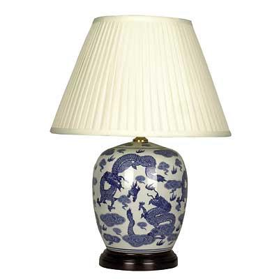 Pair of Round Jar Lamps In Blue and White Dragon Design