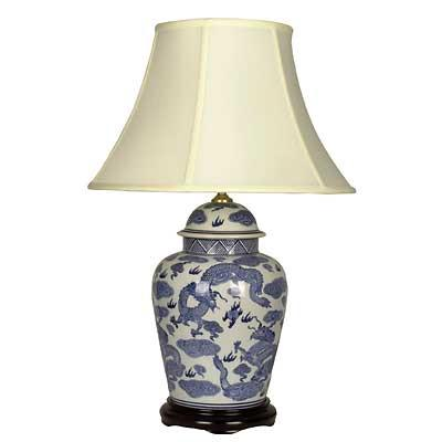 Pair of General Jar Lamps In Blue and White Dragon Design