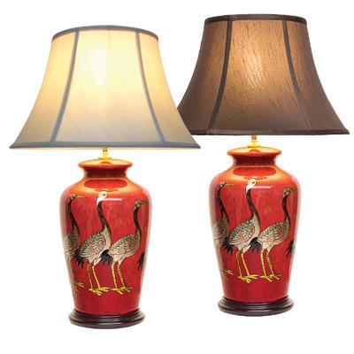 Pair of Cranes Vase Lamps