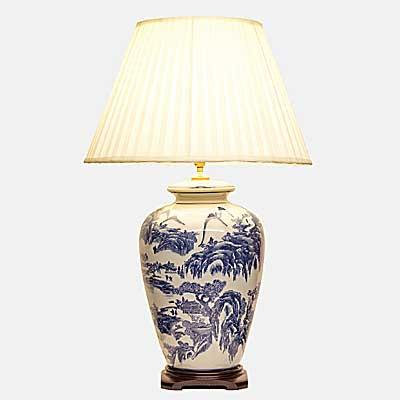 Pair of Willow Pattern Vase Lamps